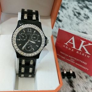 ANNE KLEIN Black Resin Crystal Fashion Watch
